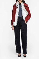 Anthony Vaccarello Detachable Fur Biker Jacket Red