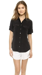Equipment Short Sleeve Slim Signature Blouse True Black