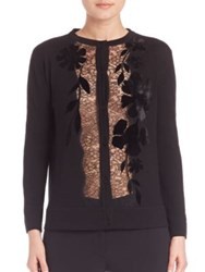 Alberta Ferretti Lace Detail Wool Cardigan Black