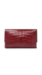 Vince Croc Embossed Clutch Bordeaux