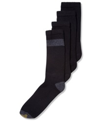 Gold Toe Men's Socks Athletic Cushion Crew 4 Pack Black