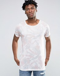Asos Longline T Shirt With Pastel Painted All Over Print In Linen Look Pink