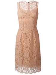 Dolce And Gabbana Floral Lace Midi Dress Pink And Purple