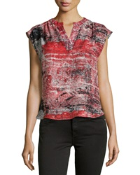 Parker Sleeveless Textured Print Silk Blouse Black White Red