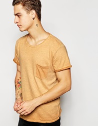 Pullandbear T Shirt With Pocket Detail Mustard