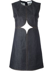 Courreges Cut Off Detailing Denim Dress Blue