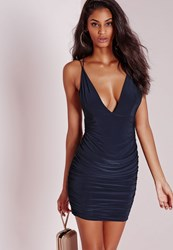Missguided Slinky Double Strap Ruche Bodycon Dress Navy Blue