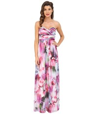 Aidan Mattox Strapless Printed Chiffon Gown With Shirrred Bust Detail Pink Multi Women's Dress