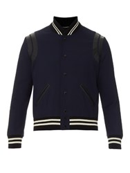 Saint Laurent Leather Trim Wool Varsity Jacket Navy