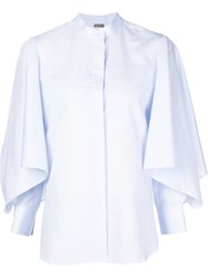 Adam By Adam Lippes Adam Lippes Wide Ruffle Sleeve Shirt Blue