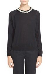 Simone Rocha Scallop Neck Sweater With Jeweled Necklace Black Pearl
