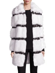 Fabulous Furs Faux Leather Trimmed Faux Mink Fur Coat White Black