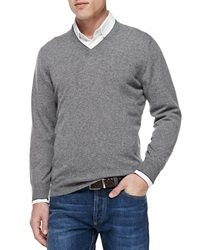 Brunello Cucinelli Cashmere V Neck Pullover Sweater Gray