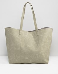 Warehouse Embossed Croc Shopper Bag Grey
