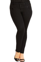Plus Size Women's City Chic Super High Waist Stretch Skinny Jeans Black