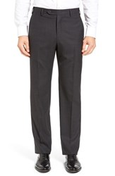 Zanella Men's Flat Front Solid Wool Trousers Dark Grey