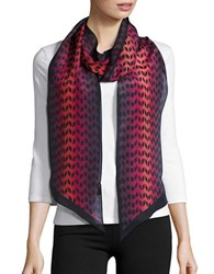 Echo Patterned Silk Scarf Red