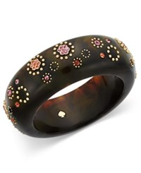 Kate Spade New York Out Of Her Shell Gold Tone Tortoiseshell Look Floral Bangle Bracelet Multi