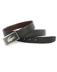 Lacoste Black Brown Reversible Leather Belt With Two Buckles Box Set