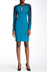 Yigal Azrouel Beaded Sleeve Keyhole Silk Dress Blue