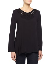 Max Studio Long Sleeve Blouse W Embroidered Trim Black