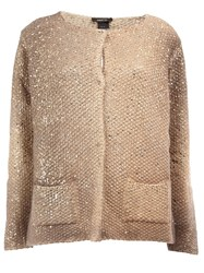Avant Toi Metallic Effect Cardigan Nude And Neutrals
