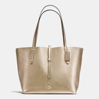 Coach Market Tote In Pebble Leather Light Gold Platinum Grey Birch