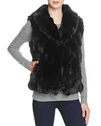 Surell Rabbit Fur Vest With Collar Black