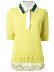 Muveil Embellished Collar Knitted Blouse Yellow And Orange