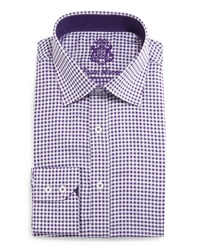 English Laundry Small Check Woven Dress Shirt Purple