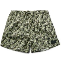Acne Studios Perry Printed Mid Length Swim Shorts Green