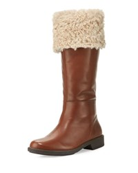 Taryn Rose Avis Mid Calf Leather Boot With Faux Fur Tan