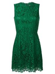 Dolce And Gabbana Floral Lace Mini Dress Green