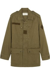 Saint Laurent Sweet Dreams Appliqued Cotton And Linen Blend Jacket Army Green