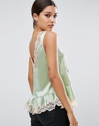 Asos Premium Satin Vest With Lace Trim And Seam Detail Pistachio Green Nude
