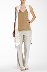Johnny Was Embroidered Linen Soft Pant Beige