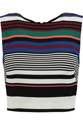 Badgley Mischka Cropped Striped Crepe Top Black