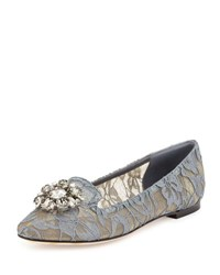 Dolce And Gabbana Crystal Embellished Lace Loafer Gray