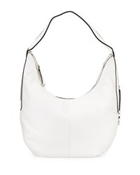 Halston Heritage Leather Slouch Hobo Bag White