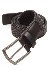 Men's Big And Tall Trafalgar 'Ethan' Braided Leather Belt Black