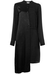 Dkny Asymmetric Satin Shirt Dress Black