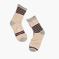Madewell Striped Diamond Trouser Socks Distressed Stone