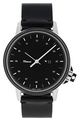 Men's Miansai 'M12' Round Leather Strap Watch 39Mm