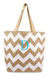 Cathy's Concepts Personalized Chevron Print Jute Tote White White Natural D