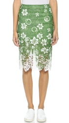 J.O.A. Tropical Safari Lace Skirt Green