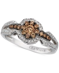 Le Vian Chocolatier Chocolate And White Diamond Halo Ring 5 8 Ct. T.W. In 14K White Gold