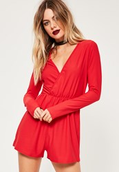 Missguided Red Crepe Wrap Romper