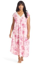 Plus Size Women's Carole Hochman Designs Floral Print Cap Sleeve Long Nightgown Damask Garden Pink