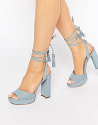 Aldo Chareri Blue Platform Sandal With Braided Ankle Light Blue