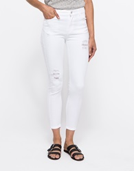 Just Female Pag High Low Jeans White